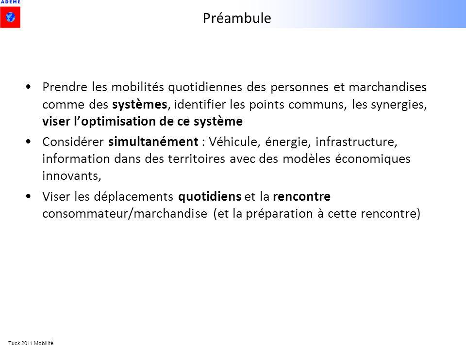 Tuck 2011 Mobilité Préambule Prendre les mobilités quotidiennes des personnes et marchandises comme des systèmes, identifier les points communs, les s