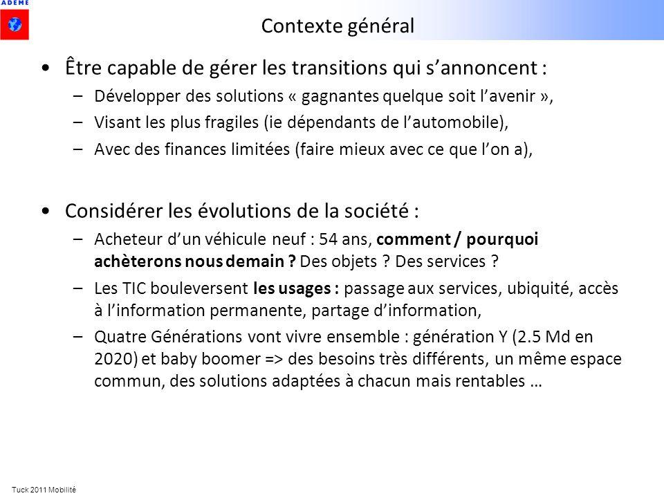 Tuck 2011 Mobilité Contexte général Être capable de gérer les transitions qui sannoncent : –Développer des solutions « gagnantes quelque soit lavenir