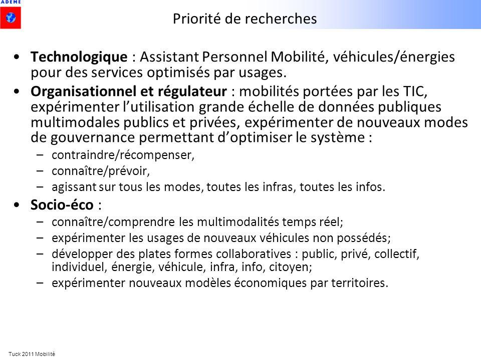 Tuck 2011 Mobilité Priorité de recherches Technologique : Assistant Personnel Mobilité, véhicules/énergies pour des services optimisés par usages. Org
