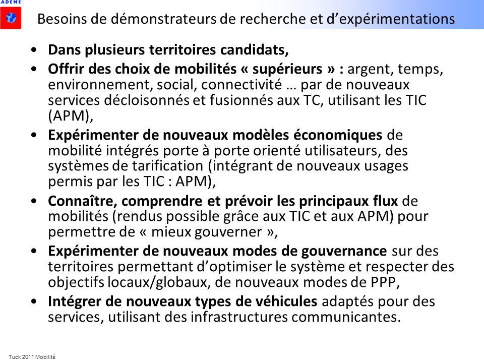 Tuck 2011 Mobilité Besoins de démonstrateurs de recherche et dexpérimentations Dans plusieurs territoires candidats, Offrir des choix de mobilités « s