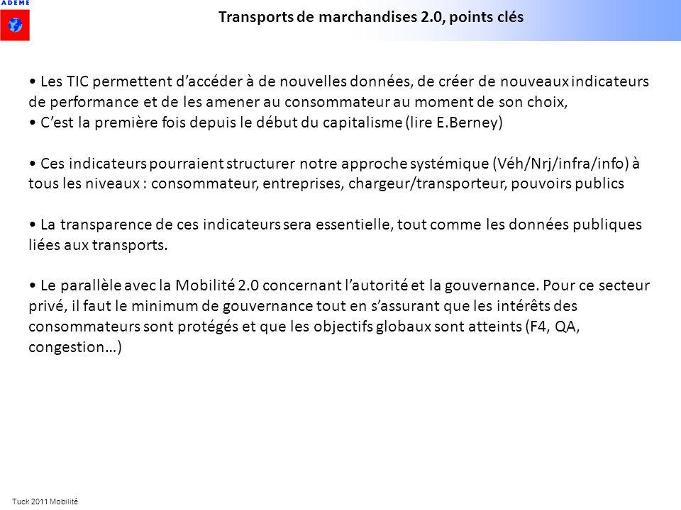 Tuck 2011 Mobilité Transports de marchandises 2.0, points clés Les TIC permettent daccéder à de nouvelles données, de créer de nouveaux indicateurs de