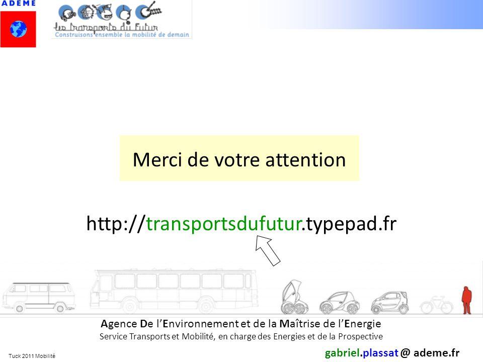 Tuck 2011 Mobilité gabriel.plassat @ ademe.fr Agence De lEnvironnement et de la Maîtrise de lEnergie Service Transports et Mobilité, en charge des Ene