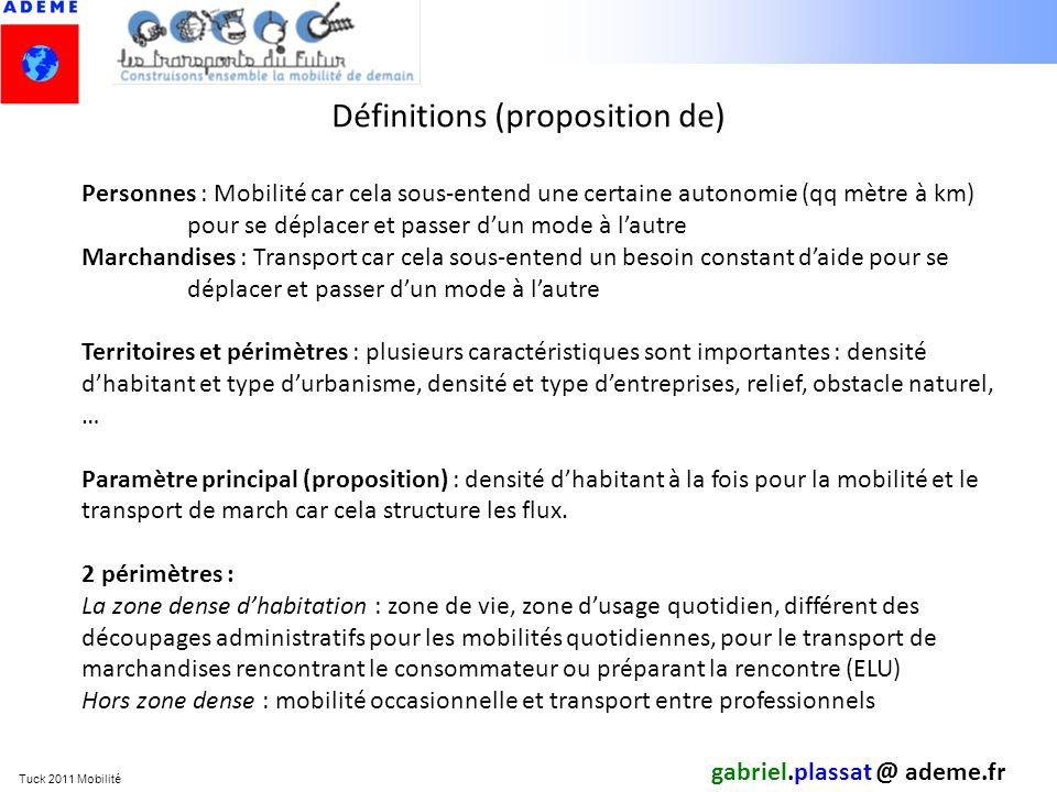 Tuck 2011 Mobilité Définitions (proposition de) gabriel.plassat @ ademe.fr Personnes : Mobilité car cela sous-entend une certaine autonomie (qq mètre