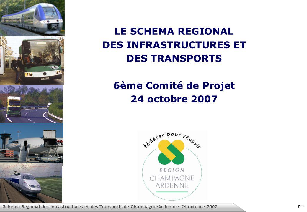 Schéma Régional des Infrastructures et des Transports de Champagne-Ardenne – 24 octobre 2007 p.1 LE SCHEMA REGIONAL DES INFRASTRUCTURES ET DES TRANSPORTS 6ème Comité de Projet 24 octobre 2007