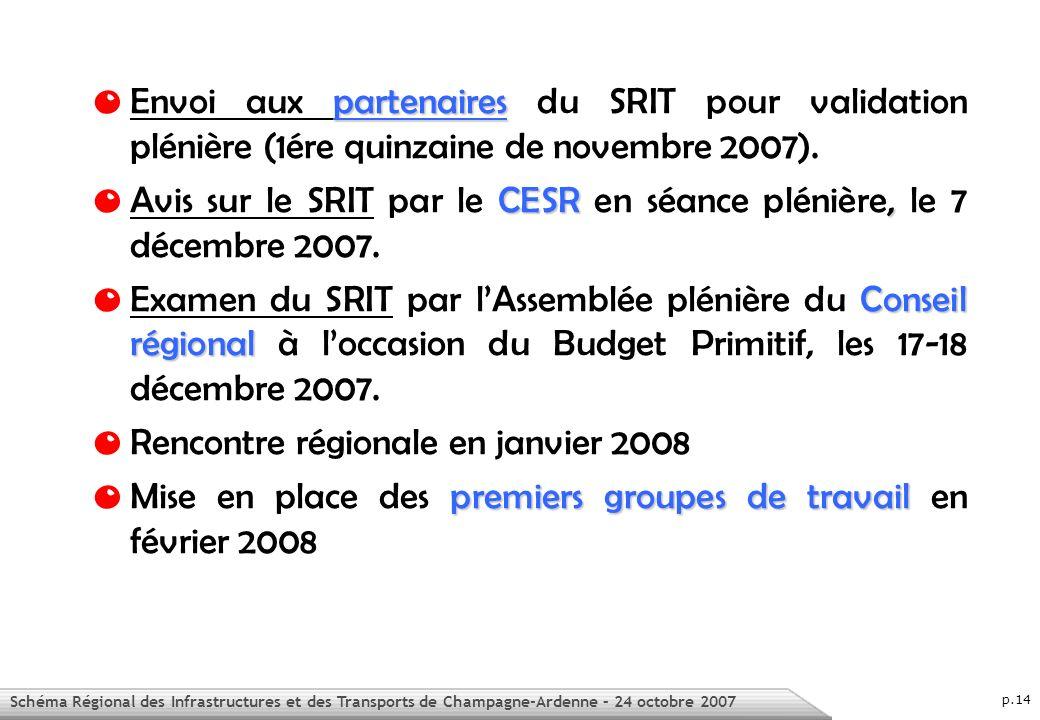 Schéma Régional des Infrastructures et des Transports de Champagne-Ardenne – 24 octobre 2007 p.14 partenaires O Envoi aux partenaires du SRIT pour validation plénière (1ére quinzaine de novembre 2007).