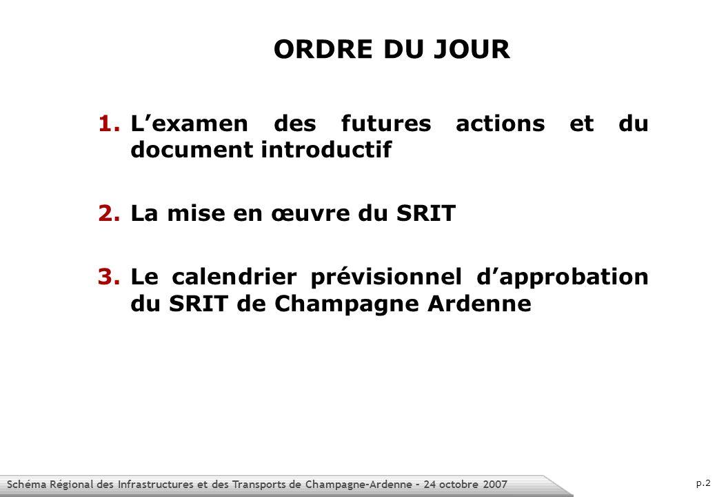 Schéma Régional des Infrastructures et des Transports de Champagne-Ardenne – 24 octobre 2007 p.2 1.Lexamen des futures actions et du document introductif 2.La mise en œuvre du SRIT 3.Le calendrier prévisionnel dapprobation du SRIT de Champagne Ardenne ORDRE DU JOUR