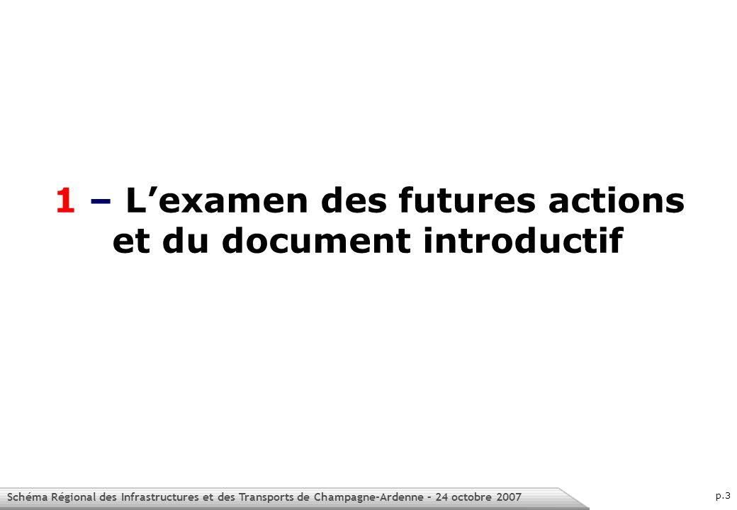 Schéma Régional des Infrastructures et des Transports de Champagne-Ardenne – 24 octobre 2007 p.3 1 – Lexamen des futures actions et du document introductif