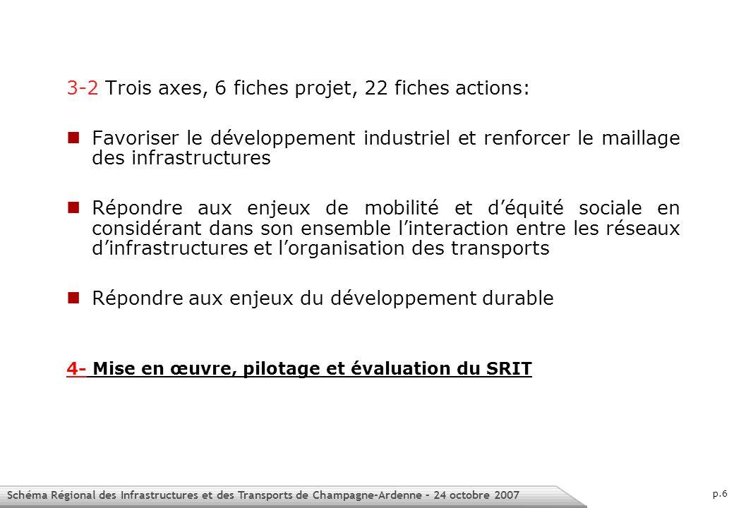 Schéma Régional des Infrastructures et des Transports de Champagne-Ardenne – 24 octobre 2007 p.7 2 – La mise en oeuvre du SRIT