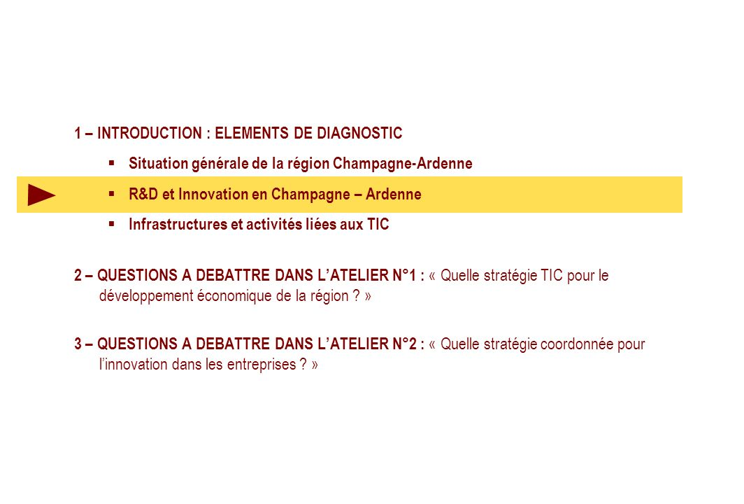 1 – INTRODUCTION : ELEMENTS DE DIAGNOSTIC Situation générale de la région Champagne-Ardenne R&D et Innovation en Champagne – Ardenne Infrastructures e