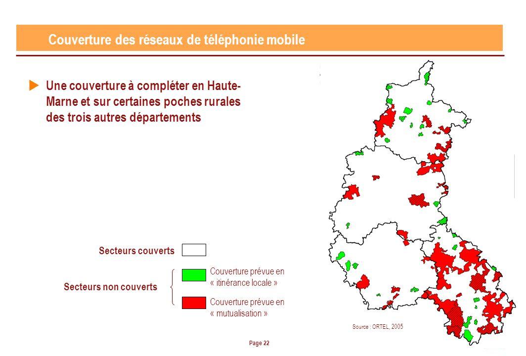 Page 22 Couverture des réseaux de téléphonie mobile Une couverture à compléter en Haute- Marne et sur certaines poches rurales des trois autres départements Source : ORTEL, 2005 Secteurs couverts Secteurs non couverts Couverture prévue en « itinérance locale » Couverture prévue en « mutualisation »