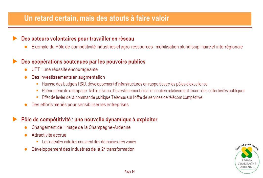 Page 24 Un retard certain, mais des atouts à faire valoir Des acteurs volontaires pour travailler en réseau Exemple du Pôle de compétitivité industrie