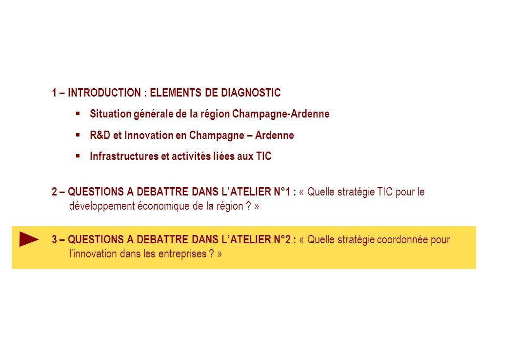 1 – INTRODUCTION : ELEMENTS DE DIAGNOSTIC Situation générale de la région Champagne-Ardenne R&D et Innovation en Champagne – Ardenne Infrastructures et activités liées aux TIC 2 – QUESTIONS A DEBATTRE DANS LATELIER N°1 : « Quelle stratégie TIC pour le développement économique de la région .