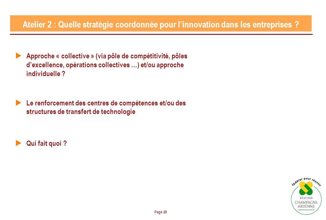 Page 28 Atelier 2 : Quelle stratégie coordonnée pour linnovation dans les entreprises ? Approche « collective » (via pôle de compétitivité, pôles dexc