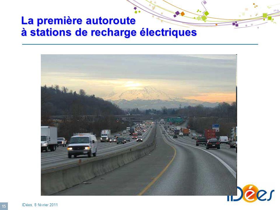 IDées, 8 février 2011 15 La première autoroute à stations de recharge électriques