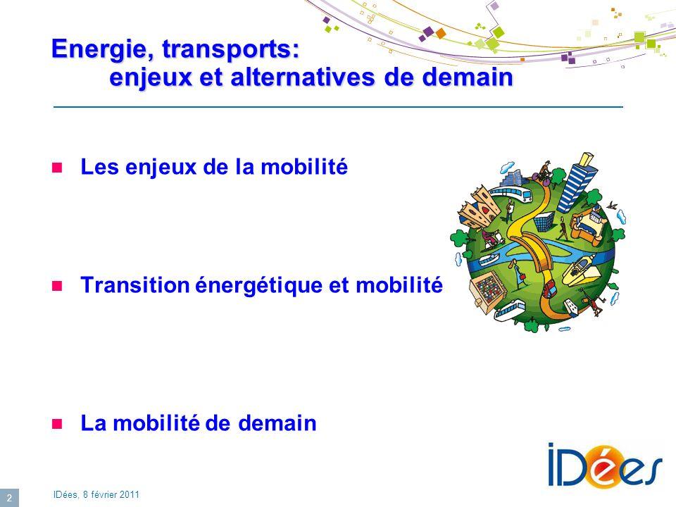 IDées, 8 février 2011 13 Transition énergétique: Energies alternatives pour la propulsion GNV, GPL GNV, GPL Solution de transition, intéressante pour les pays producteurs Difficultés de distribution XTL (GTL, CTL) XTL (GTL, CTL) Coûts élevés Forte pénalité carbone Biocarburants Biocarburants Disponibilité biomasse Energies bas carbone (nucléaire, renouvelables) Energies bas carbone (nucléaire, renouvelables) Passage par vecteur dénergie: Electricité Hydrogène