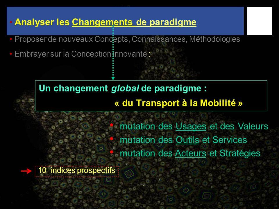 Un changement global de paradigme : « du Transport à la Mobilité » 10 indices prospectifs mutation des Usages et des Valeurs mutation des Outils et Se