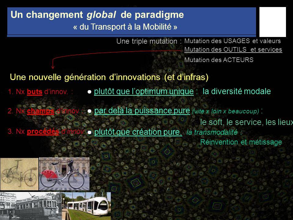 Une triple mutation : Un changement global de paradigme « du Transport à la Mobilité » plutôt que loptimum unique : la diversité modale par delà la pu