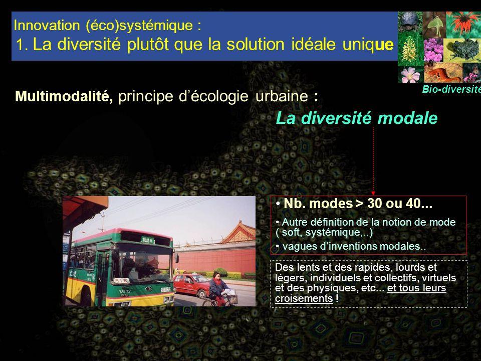 Innovation (éco)systémique : 1. La diversité plutôt que la solution idéale unique Multimodalité, principe décologie urbaine : La diversité modale Bio-