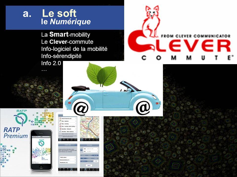 La Smart -mobility Le Clever-commute Info-logiciel de la mobilité Info-sérendipité Info 2.0 … a.Le soft le Numérique