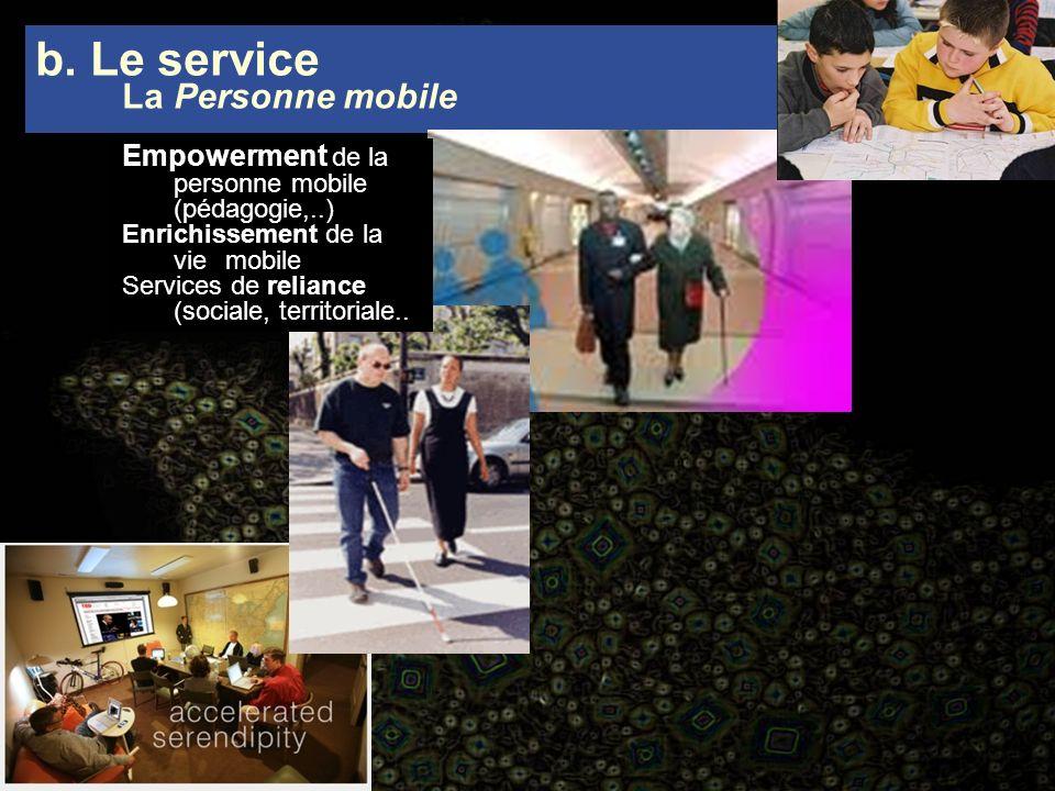Empowerment de la personne mobile (pédagogie,..) Enrichissement de la vie mobile Services de reliance (sociale, territoriale.. b. Le service La Person