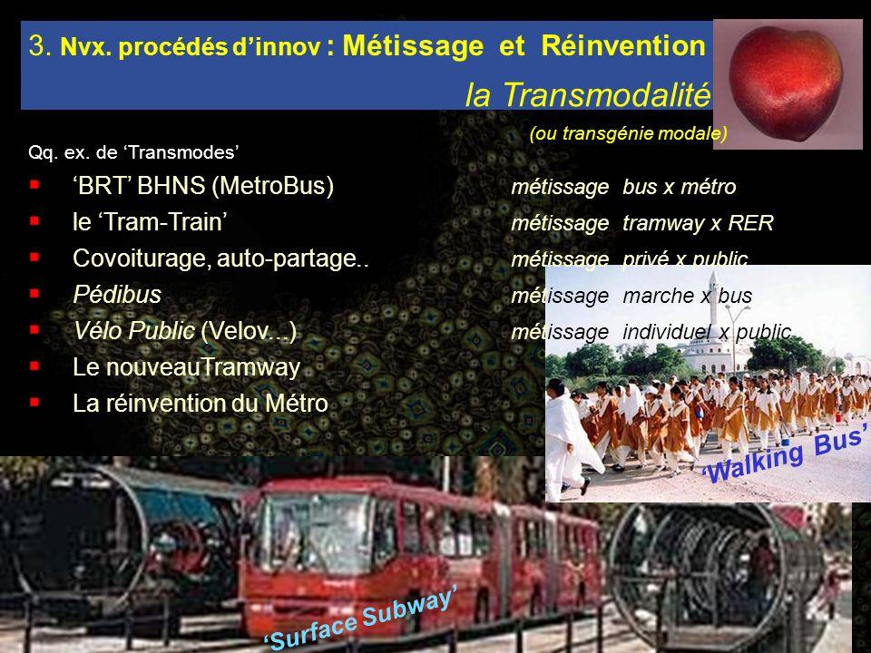 Surface Subway Walking Bus Qq. ex. de Transmodes BRT BHNS (MetroBus) métissage bus x métro le Tram-Train métissage tramway x RER Covoiturage, auto-par