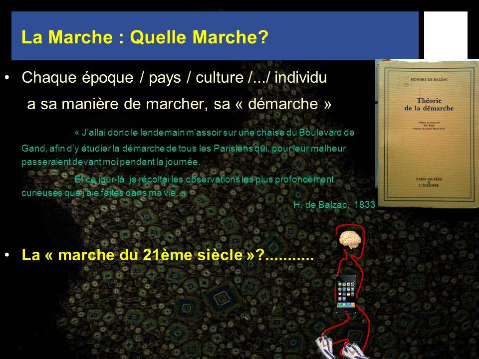 La Marche : Quelle Marche? Chaque époque / pays / culture /.../ individu a sa manière de marcher, sa « démarche » « Jallai donc le lendemain massoir s