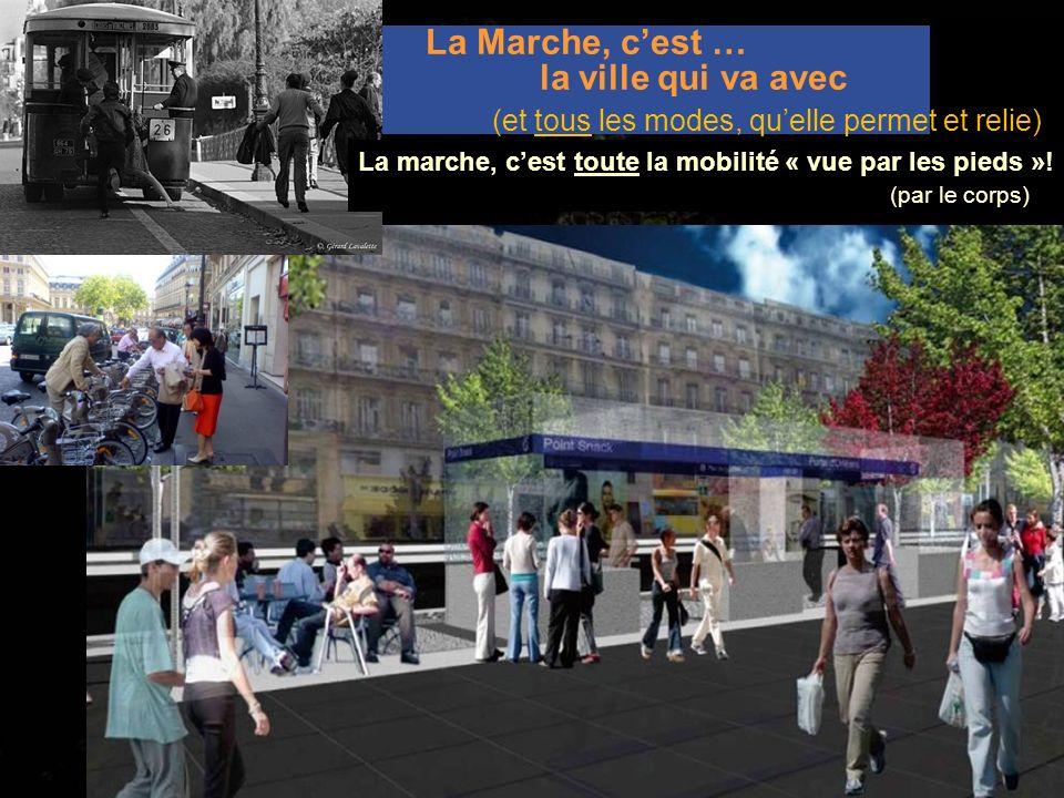 La Marche, cest … la ville qui va avec La marche, cest toute la mobilité « vue par les pieds »! (par le corps) ; (et tous les modes, quelle permet et