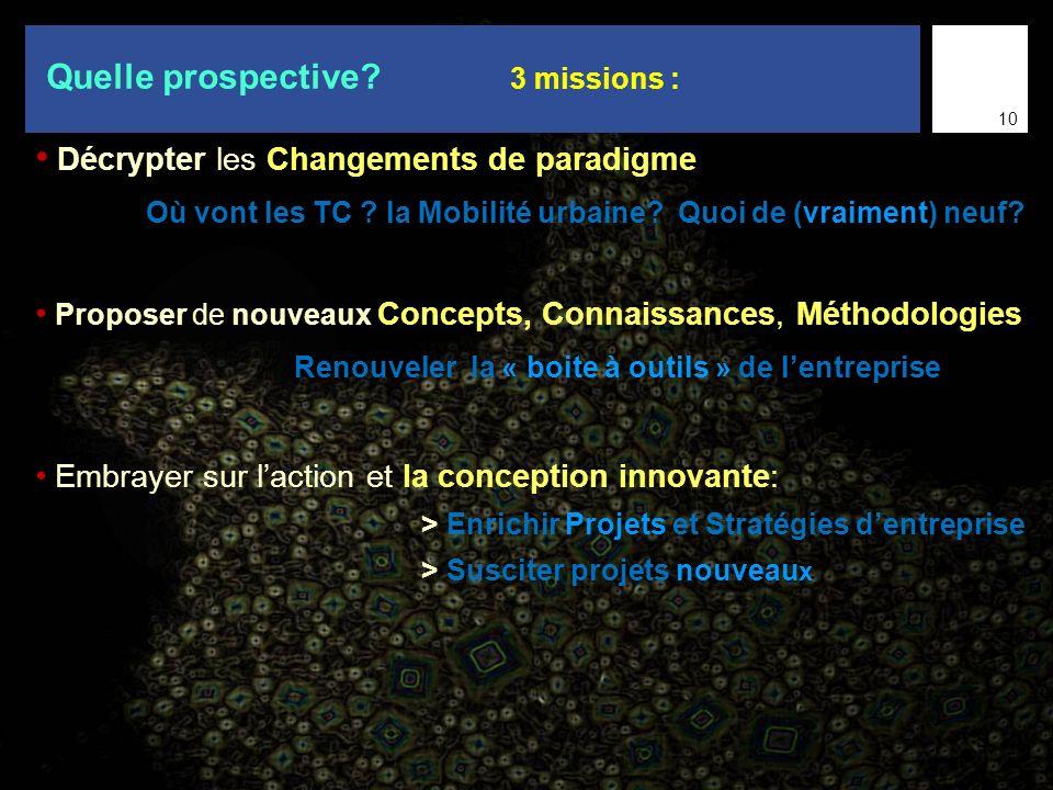 9 Décrypter les Changements de paradigme Où vont les TC ? la Mobilité urbaine? Quoi de (vraiment) neuf? Proposer de nouveaux Concepts, Connaissances,