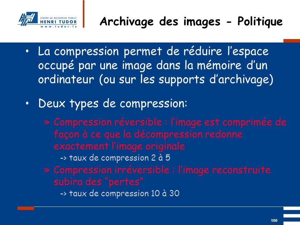Mai 2004 UP2 GBM Nancy RIS/ PACS 100 Archivage des images - Politique La compression permet de réduire lespace occupé par une image dans la mémoire du