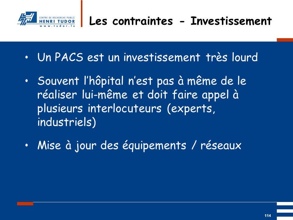 Mai 2004 UP2 GBM Nancy RIS/ PACS 114 Les contraintes - Investissement Un PACS est un investissement très lourd Souvent lhôpital nest pas à même de le