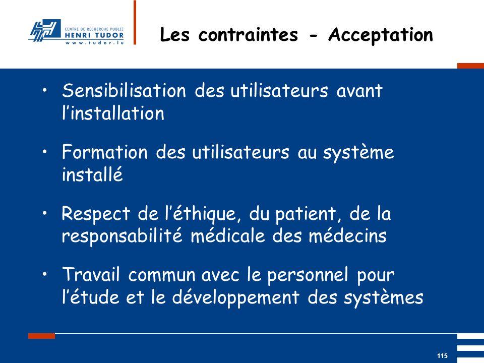Mai 2004 UP2 GBM Nancy RIS/ PACS 115 Les contraintes - Acceptation Sensibilisation des utilisateurs avant linstallation Formation des utilisateurs au
