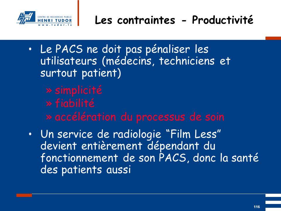 Mai 2004 UP2 GBM Nancy RIS/ PACS 116 Les contraintes - Productivité Le PACS ne doit pas pénaliser les utilisateurs (médecins, techniciens et surtout p