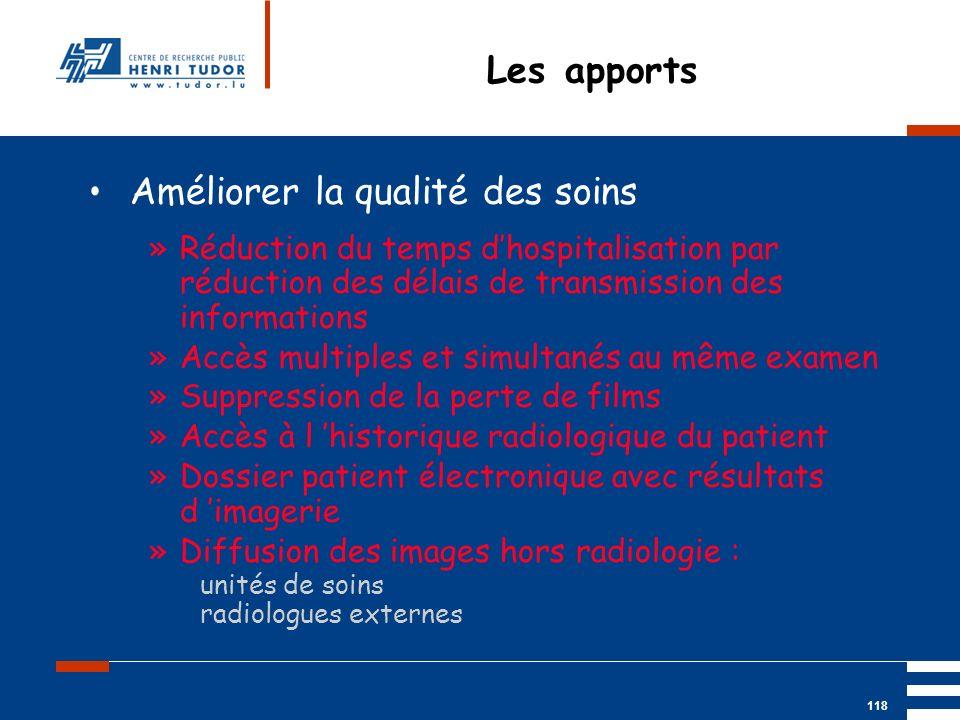 Mai 2004 UP2 GBM Nancy RIS/ PACS 118 Les apports Améliorer la qualité des soins »Réduction du temps dhospitalisation par réduction des délais de trans