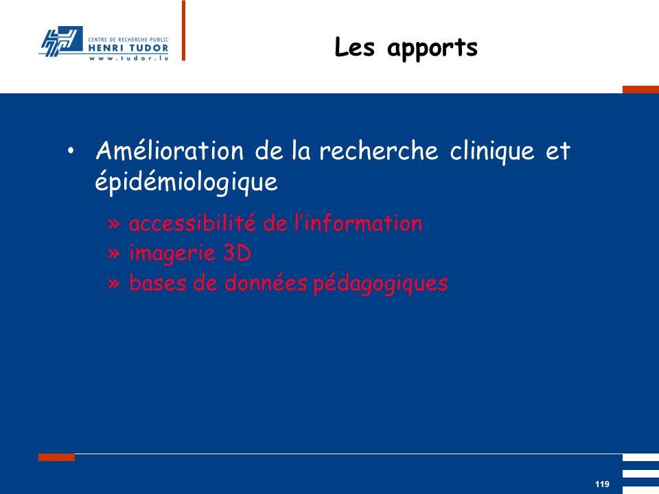Mai 2004 UP2 GBM Nancy RIS/ PACS 119 Les apports Amélioration de la recherche clinique et épidémiologique »accessibilité de linformation »imagerie 3D