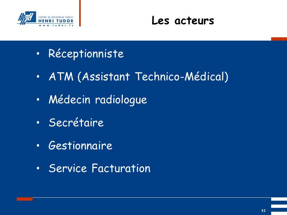 Mai 2004 UP2 GBM Nancy RIS/ PACS 13 Les acteurs Réceptionniste ATM (Assistant Technico-Médical) Médecin radiologue Secrétaire Gestionnaire Service Fac
