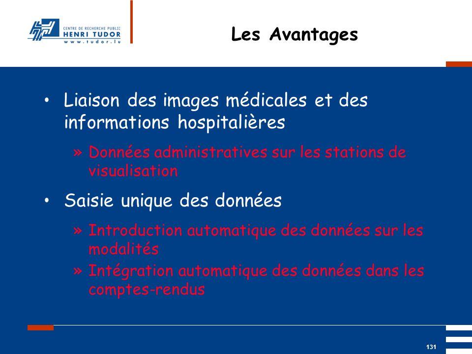 Mai 2004 UP2 GBM Nancy RIS/ PACS 131 Les Avantages Liaison des images médicales et des informations hospitalières »Données administratives sur les sta