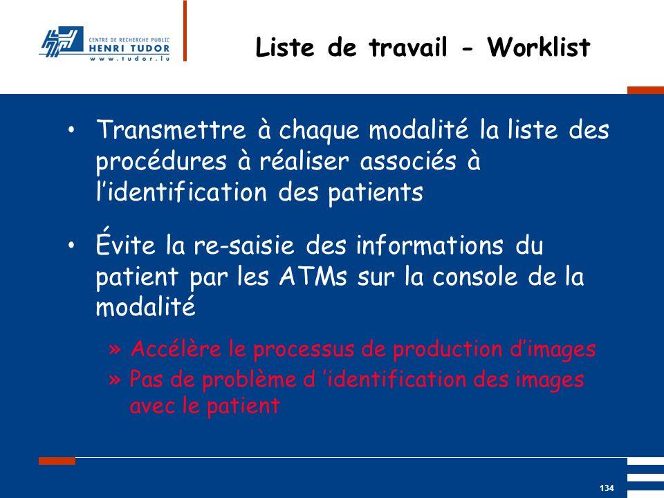 Mai 2004 UP2 GBM Nancy RIS/ PACS 134 Liste de travail - Worklist Transmettre à chaque modalité la liste des procédures à réaliser associés à lidentifi