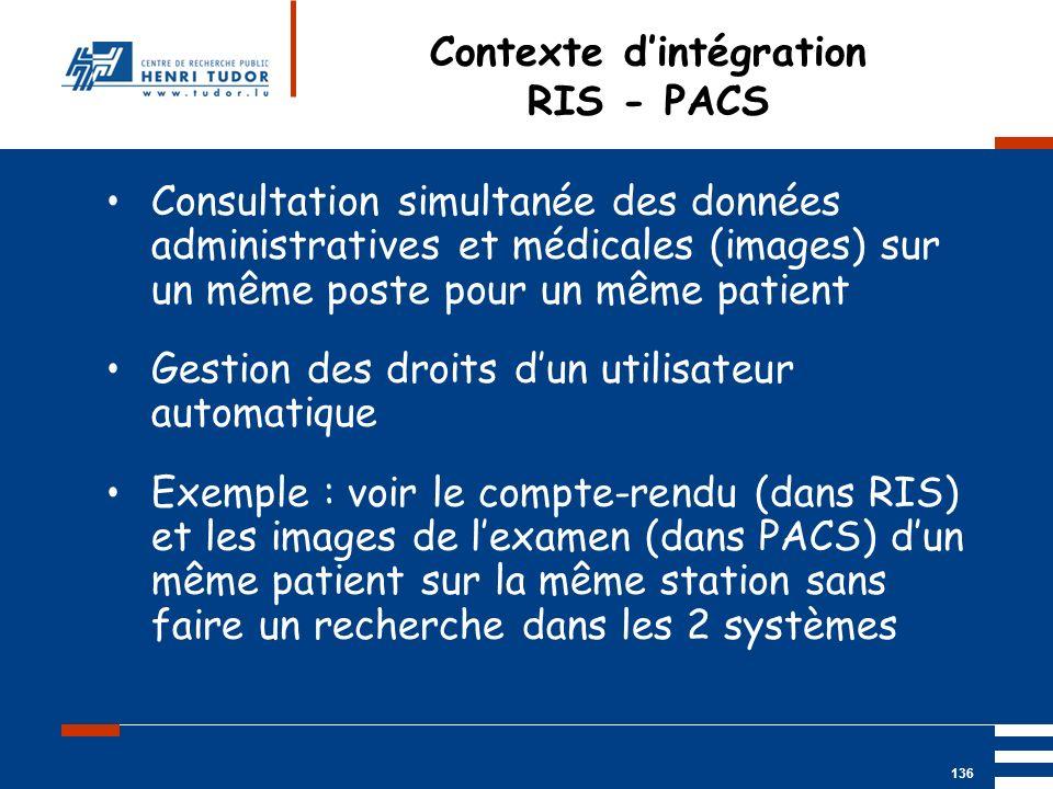 Mai 2004 UP2 GBM Nancy RIS/ PACS 136 Contexte dintégration RIS - PACS Consultation simultanée des données administratives et médicales (images) sur un