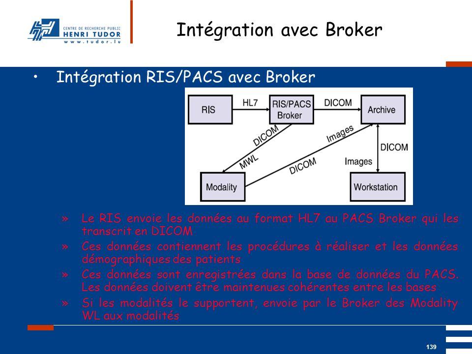 Mai 2004 UP2 GBM Nancy RIS/ PACS 139 Intégration avec Broker Intégration RIS/PACS avec Broker »Le RIS envoie les données au format HL7 au PACS Broker