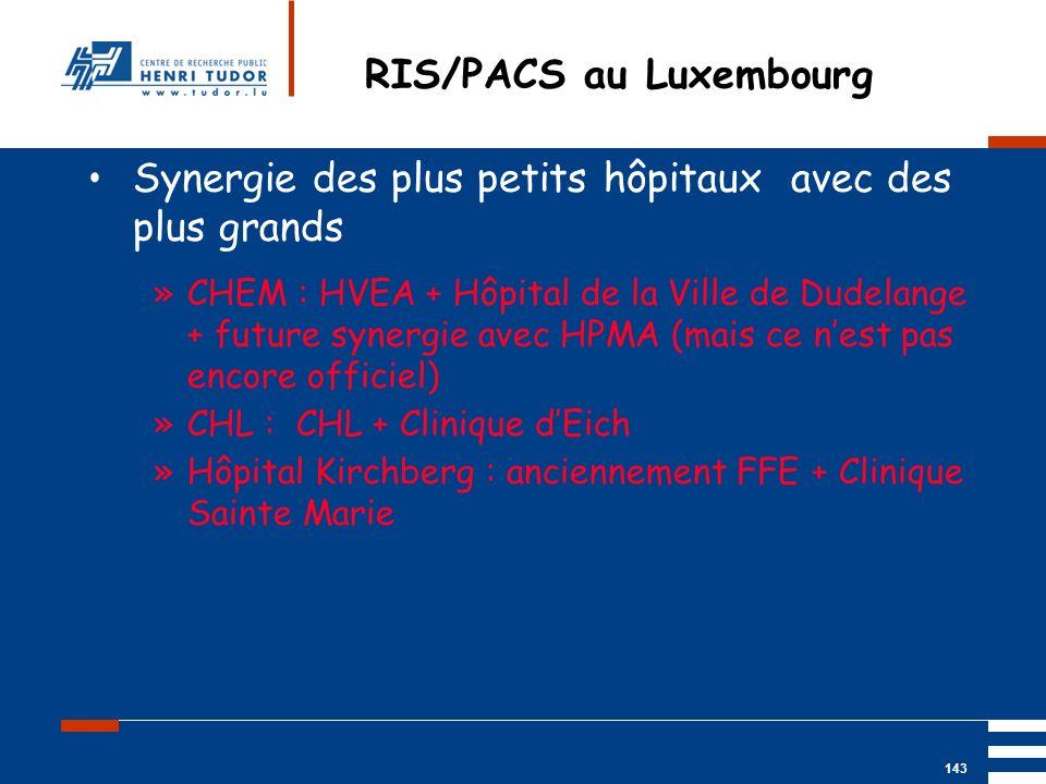 Mai 2004 UP2 GBM Nancy RIS/ PACS 143 RIS/PACS au Luxembourg Synergie des plus petits hôpitaux avec des plus grands »CHEM : HVEA + Hôpital de la Ville