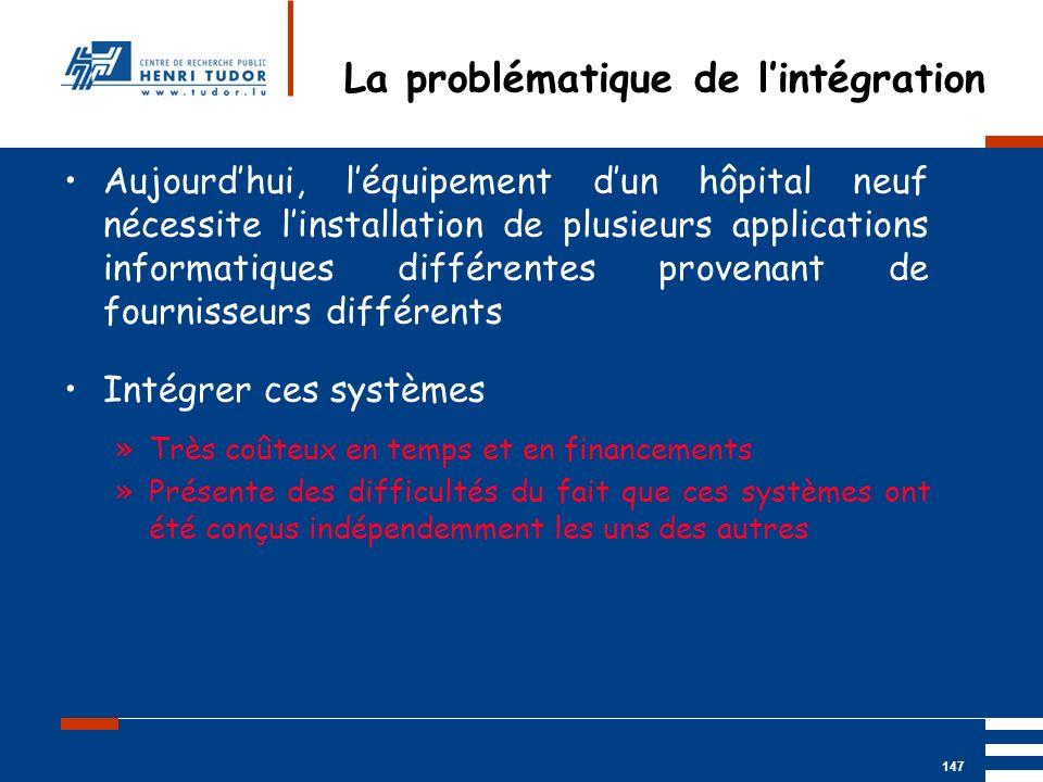Mai 2004 UP2 GBM Nancy RIS/ PACS 147 Aujourdhui, léquipement dun hôpital neuf nécessite linstallation de plusieurs applications informatiques différen