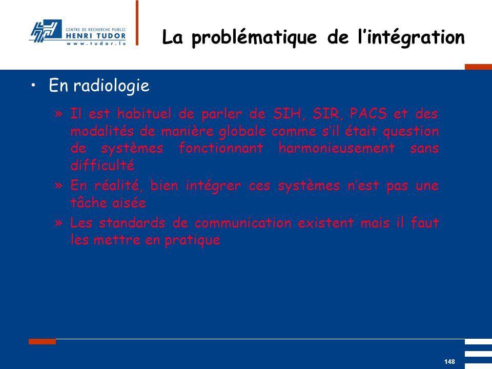 Mai 2004 UP2 GBM Nancy RIS/ PACS 148 En radiologie »Il est habituel de parler de SIH, SIR, PACS et des modalités de manière globale comme sil était qu