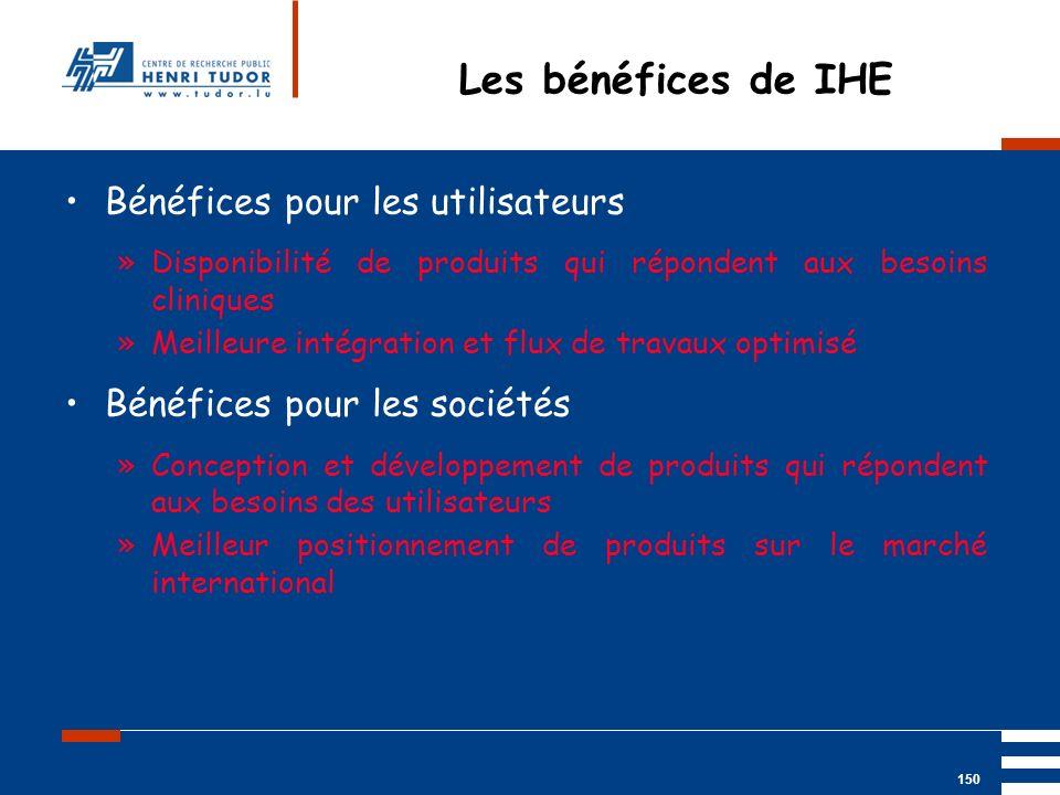 Mai 2004 UP2 GBM Nancy RIS/ PACS 150 Bénéfices pour les utilisateurs »Disponibilité de produits qui répondent aux besoins cliniques »Meilleure intégra