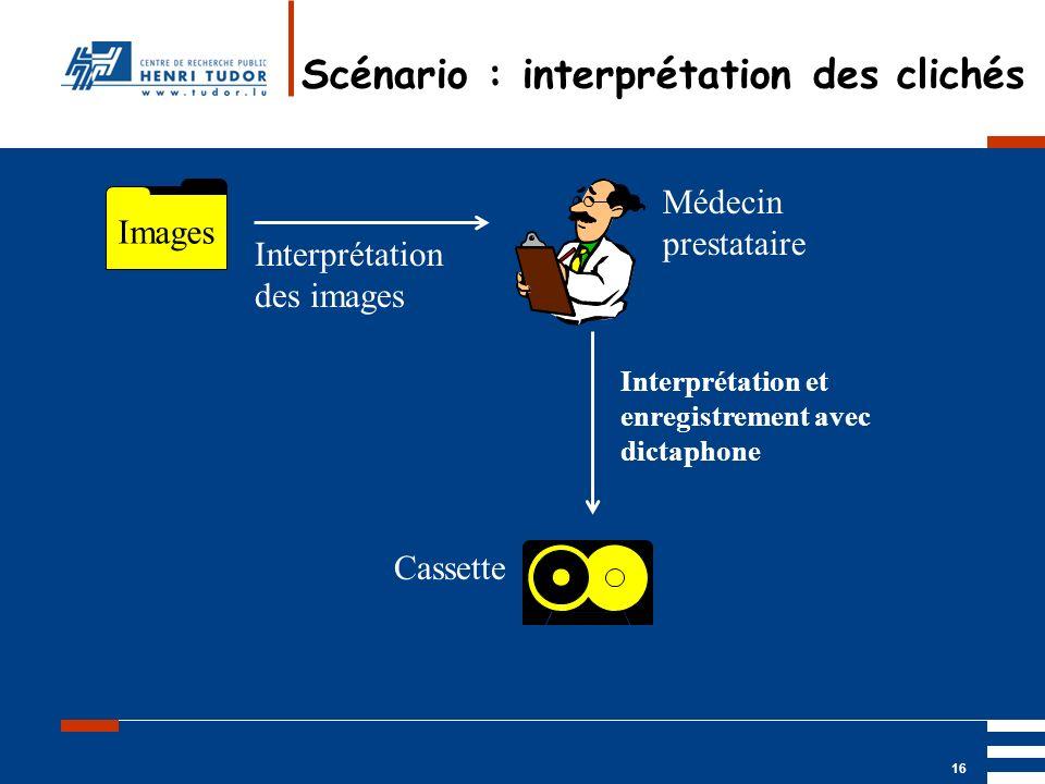 Mai 2004 UP2 GBM Nancy RIS/ PACS 16 Scénario : interprétation des clichés Images Médecin prestataire Interprétation des images Cassette Interprétation