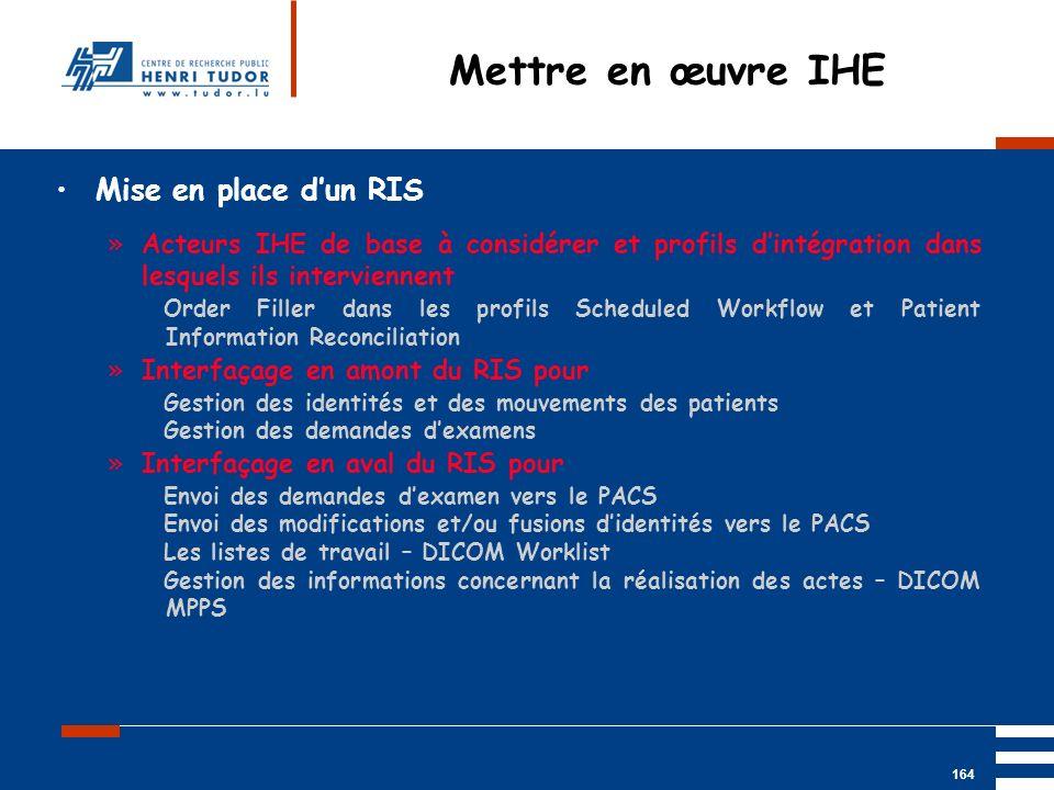 Mai 2004 UP2 GBM Nancy RIS/ PACS 164 Mise en place dun RIS »Acteurs IHE de base à considérer et profils dintégration dans lesquels ils interviennent O