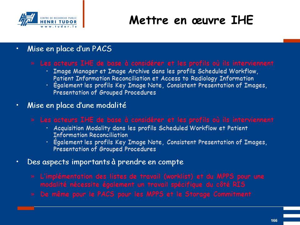 Mai 2004 UP2 GBM Nancy RIS/ PACS 166 Mise en place dun PACS »Les acteurs IHE de base à considérer et les profils où ils interviennent Image Manager et
