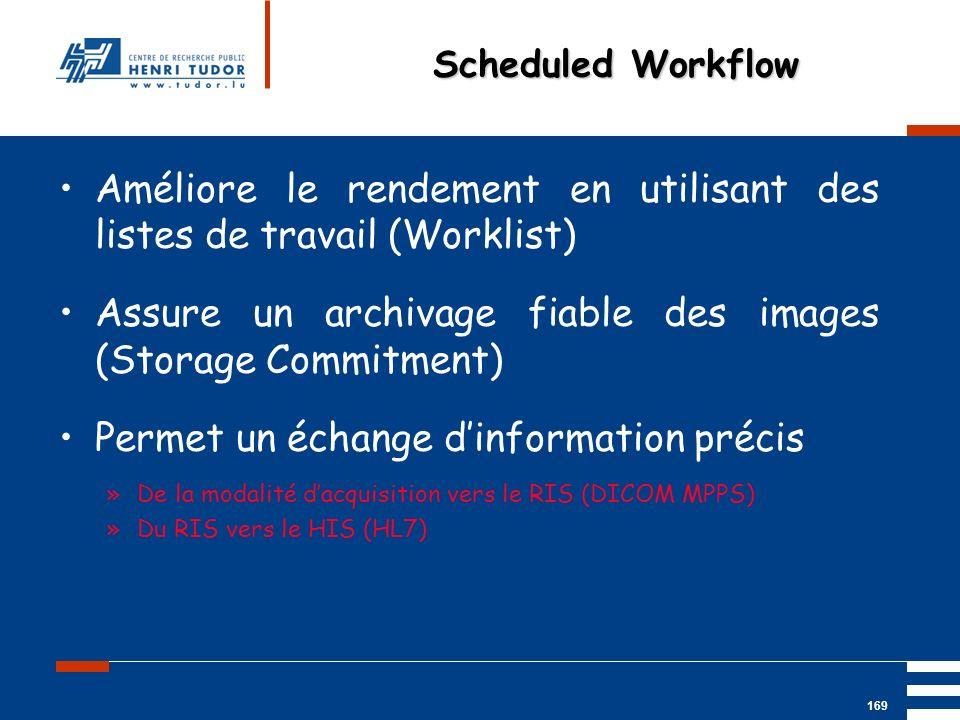 Mai 2004 UP2 GBM Nancy RIS/ PACS 169 Améliore le rendement en utilisant des listes de travail (Worklist) Assure un archivage fiable des images (Storag
