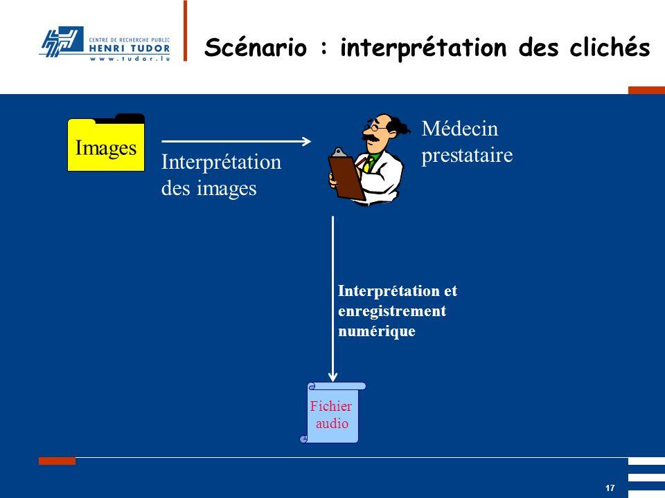 Mai 2004 UP2 GBM Nancy RIS/ PACS 17 Scénario : interprétation des clichés Images Médecin prestataire Interprétation des images Interprétation et enreg