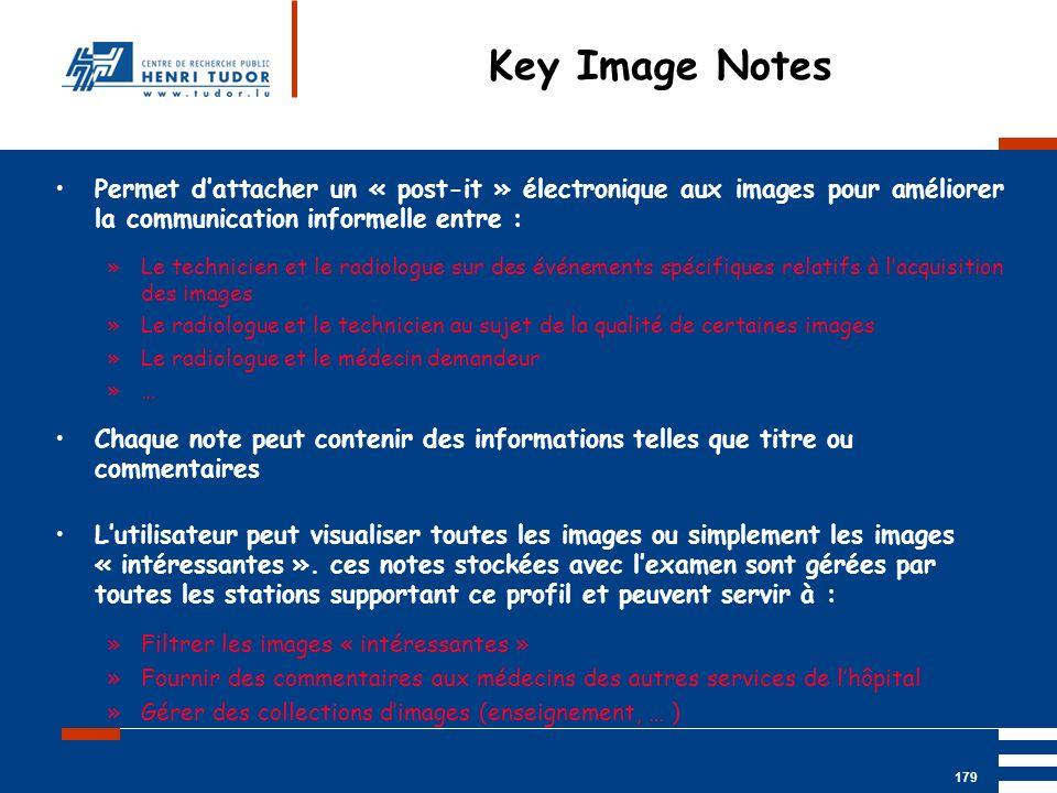 Mai 2004 UP2 GBM Nancy RIS/ PACS 179 Permet dattacher un « post-it » électronique aux images pour améliorer la communication informelle entre : »Le te