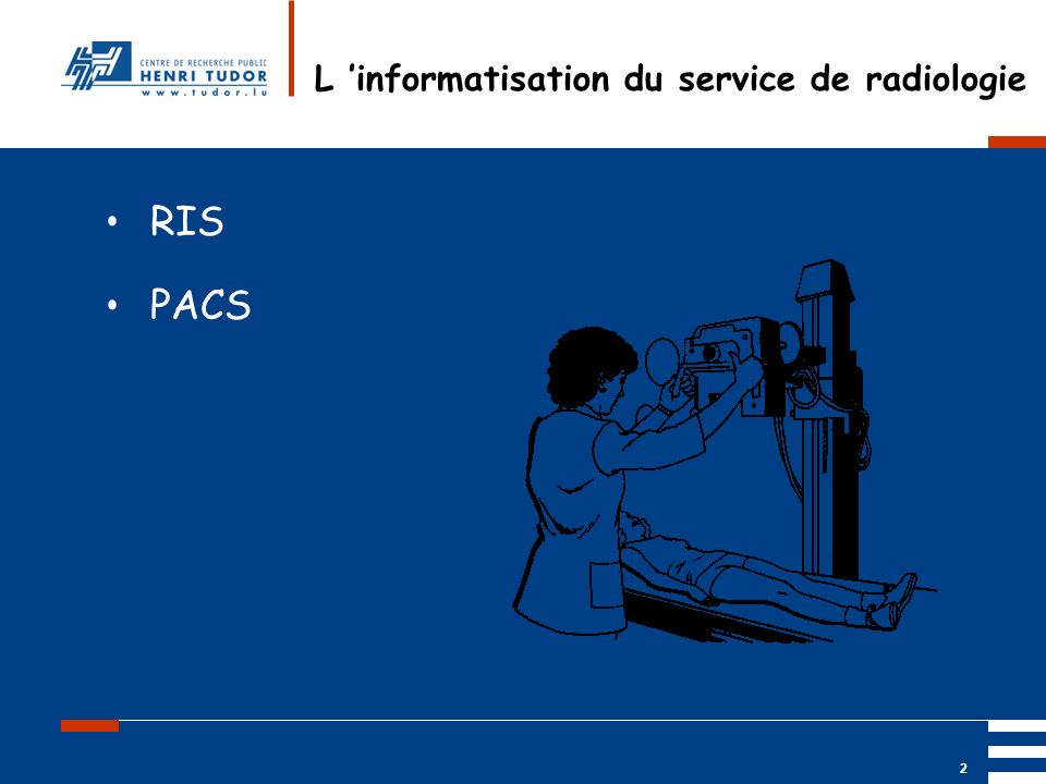 Mai 2004 UP2 GBM Nancy RIS/ PACS 2 L informatisation du service de radiologie RIS PACS